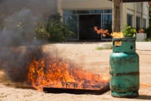 gas on fire in barn